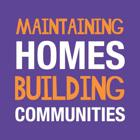 A visual saying Maintaining Homes Building Communities